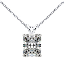 14 KARAT WHITE GOLD RADIANT PENDANT WITH ROLO CHAIN. BUILD YOUR OWN PENDANT.
