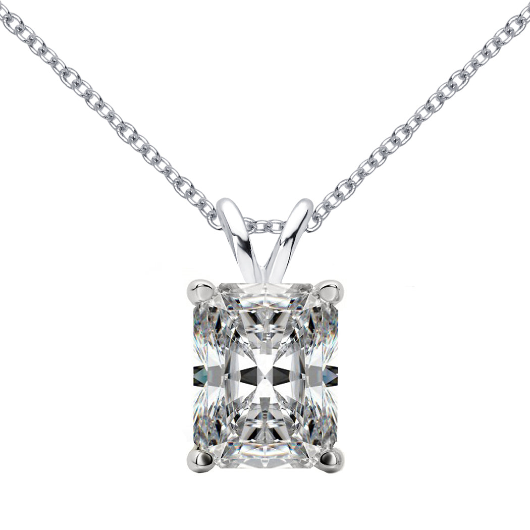 18 KARAT WHITE GOLD RADIANT PENDANT WITH ROLO CHAIN. BUILD YOUR OWN PENDANT.