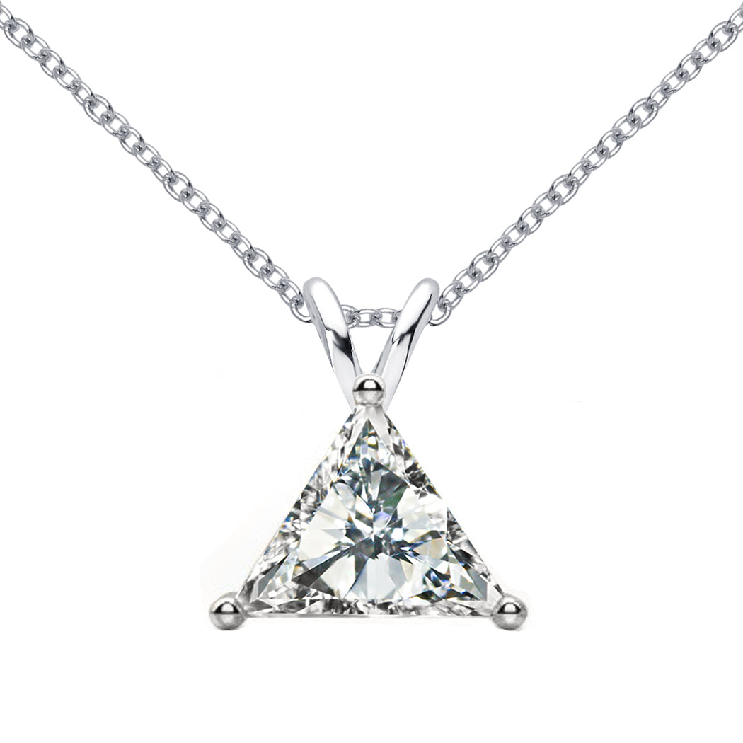 18 KARAT WHITE GOLD TRIANGLE PENDANT WITH ROLO CHAIN. BUILD YOUR OWN PENDANT.