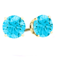 14 KARAT YELLOW GOLD AQUAMARINE 4-PRONG ROUND. Choose From 0.25 CTW To 10.00 CTW