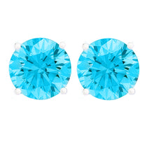 14 KARAT WHITE GOLD AQUAMARINE 4-PRONG ROUND. Choose From 0.25 CTW To 10.00 CTW