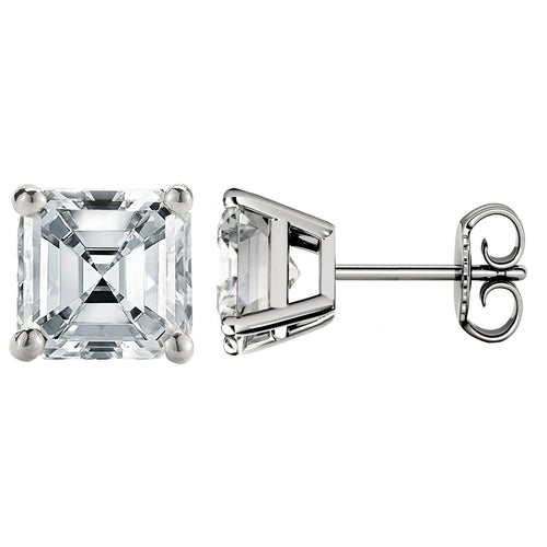 18 KARAT WHITE GOLD ASSCHER. Choose From 0.25 CTW To 10.00 CTW