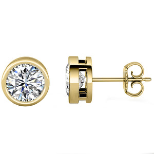 14 KARAT YELLOW GOLD OPEN BEZEL ROUND 10.00 C.T.W