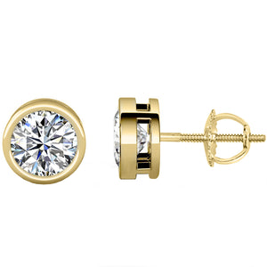 14 KARAT YELLOW GOLD OPEN BEZEL ROUND 3.00 C.T.W