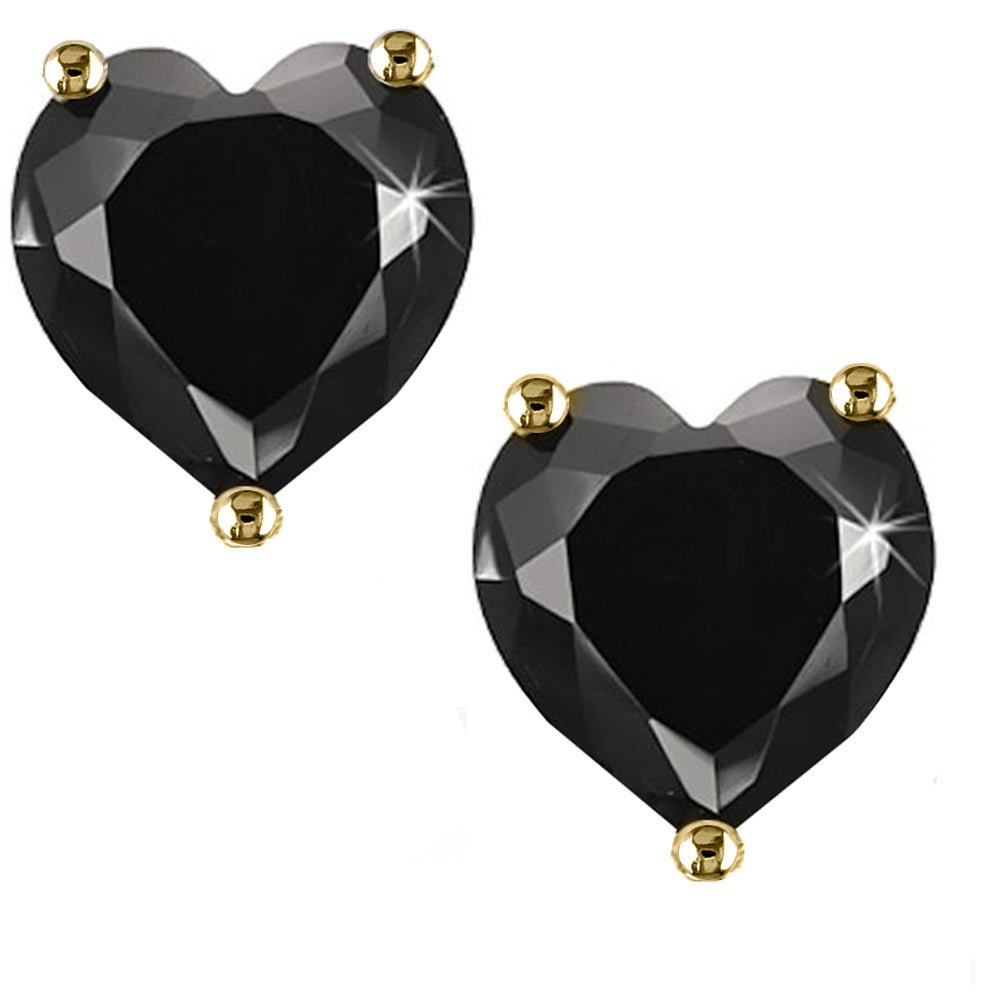14 KARAT YELLOW GOLD BLACK HEART. Choose From 0.25 CTW To 10.00 CTW