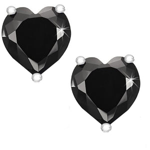 14 KARAT WHITE GOLD BLACK HEART. Choose From 0.25 CTW To 10.00 CTW