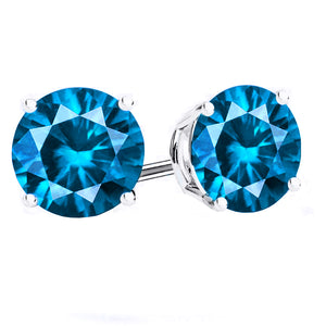 14 KARAT WHITE GOLD BLUE TOPAZ 4-PRONG ROUND. Choose From 0.25 CTW To 10.00 CTW