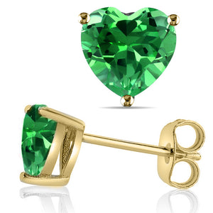 14 KARAT YELLOW GOLD EMERALD HEART. Choose From 0.25 CTW To 10.00 CTW