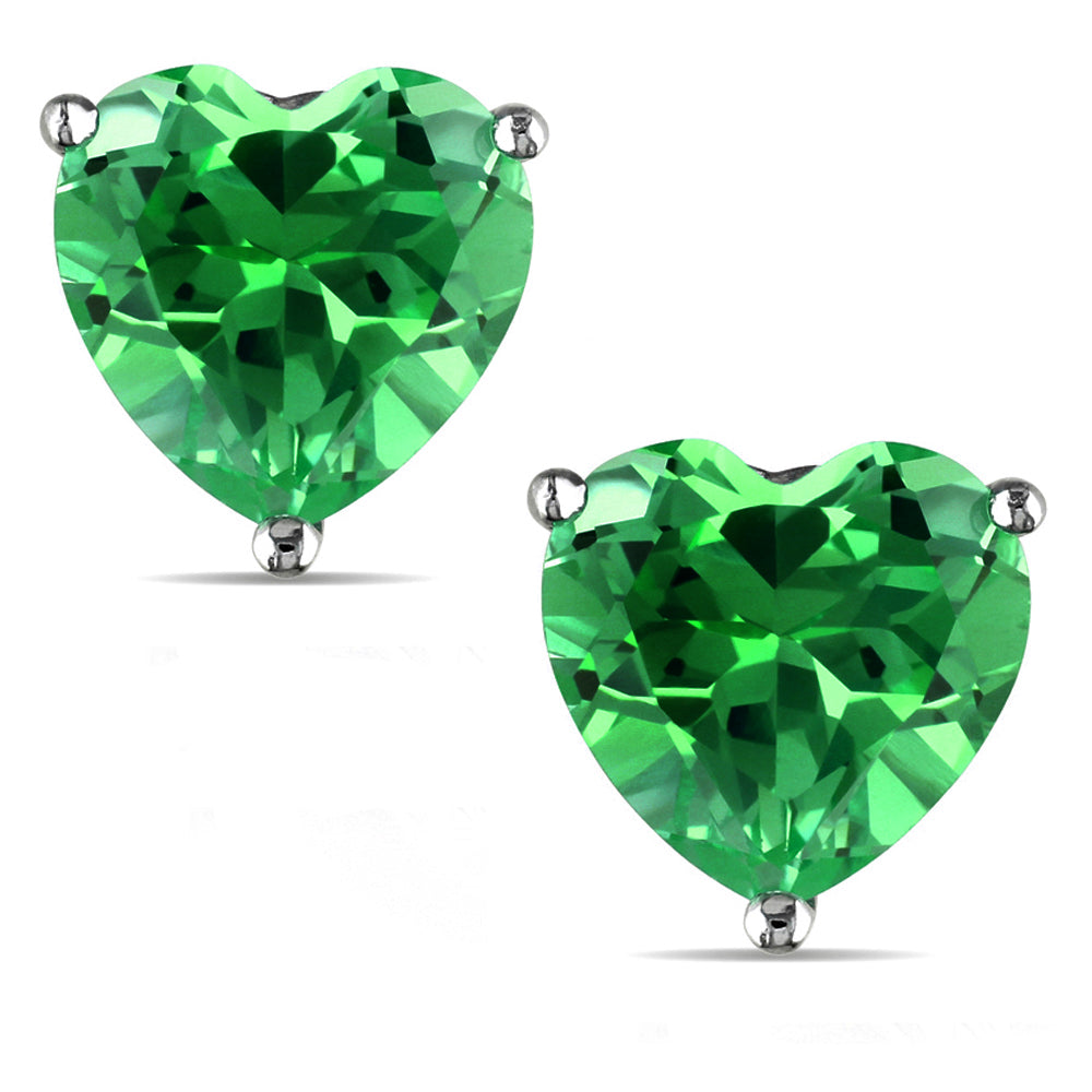 14 KARAT WHITE GOLD EMERALD HEART. Choose From 0.25 CTW To 10.00 CTW