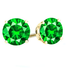 14 KARAT YELLOW GOLD EMERALD 4-PRONG ROUND. Choose From 0.25 CTW To 10.00 CTW