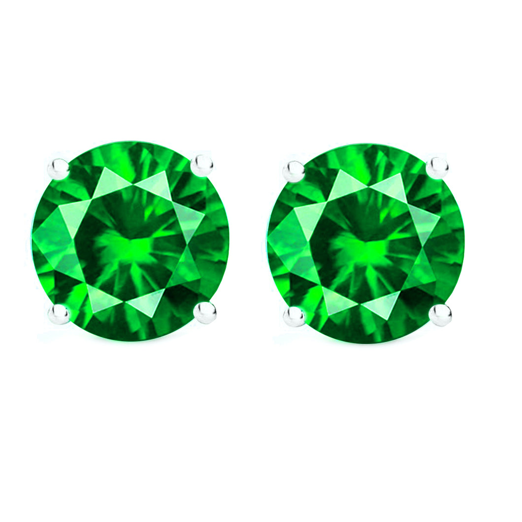 14 KARAT WHITE GOLD EMERALD 4-PRONG ROUND. Choose From 0.25 CTW To 10.00 CTW