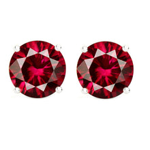 14 KARAT WHITE GOLD GARNET 4-PRONG ROUND. Choose From 0.25 CTW To 10.00 CTW