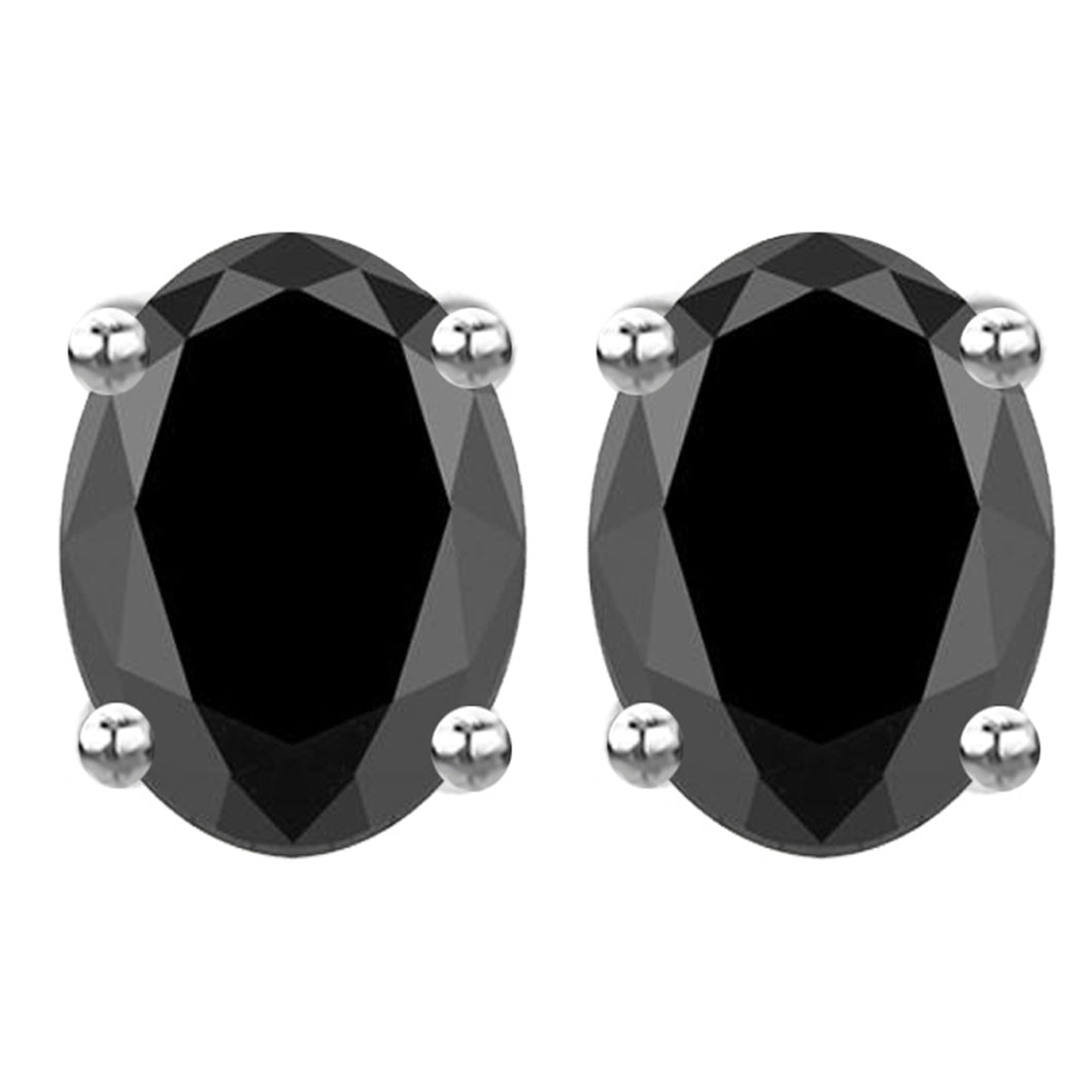 14 KARAT WHITE GOLD BLACK OVAL. Choose From 0.25 CTW To 10.00 CTW