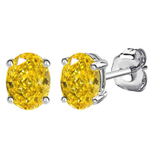 14 KARAT WHITE GOLD CANARY OVAL. Choose From 0.25 CTW To 10.00 CTW