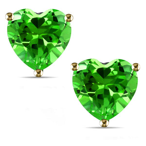 14 KARAT YELLOW GOLD PERIDOT HEART. Choose From 0.25 CTW To 10.00 CTW