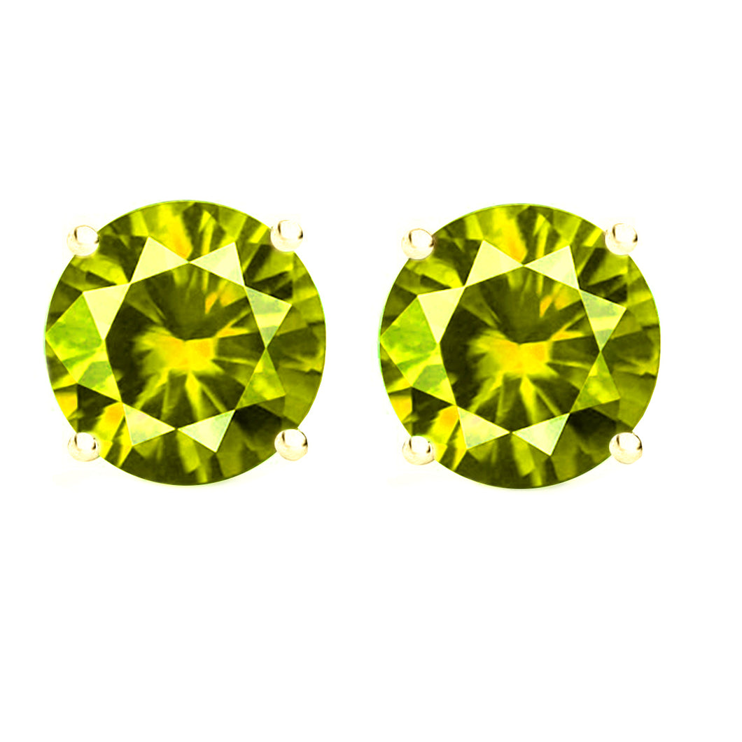 14 KARAT YELLOW GOLD PERIDOT 4-PRONG ROUND. Choose From 0.25 CTW To 10.00 CTW