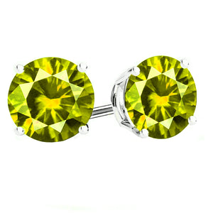 14 KARAT WHITE GOLD PERIDOT 4-PRONG ROUND. Choose From 0.25 CTW To 10.00 CTW