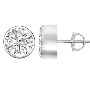18 KARAT WHITE GOLD SOLID BEZEL ROUND. Choose From 0.25 CTW To 10.00 CTW