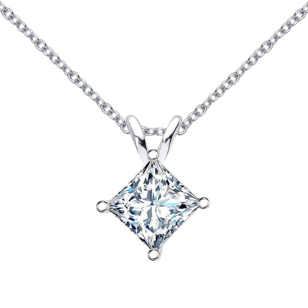 18 KARAT WHITE GOLD PRINCESS PENDANT WITH ROLO CHAIN. BUILD YOUR OWN PENDANT.