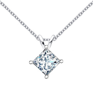 14 KARAT WHITE GOLD PRINCESS PENDANT WITH ROLO CHAIN. BUILD YOUR OWN PENDANT.