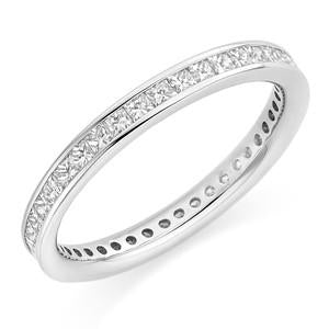 Eternity Band With Princess Channel Set Stones In 1 Carat Total Weight.