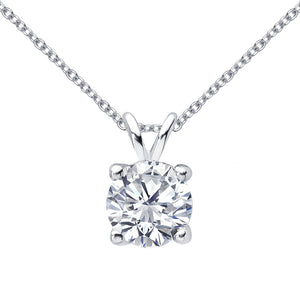 14 KARAT WHITE GOLD 4-PRONG ROUND PENDANT WITH ROLO CHAIN. BUILD YOUR OWN PENDANT.