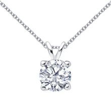 18 KARAT WHITE GOLD 4-PRONG ROUND PENDANT WITH ROLO CHAIN. BUILD YOUR OWN PENDANT.