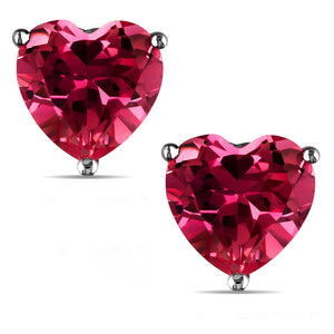 14 KARAT WHITE GOLD RUBY HEART. Choose From 0.25 CTW To 10.00 CTW