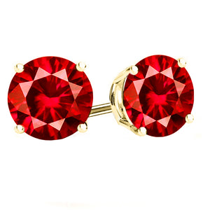 14 KARAT YELLOW GOLD RUBY 4-PRONG ROUND. Choose From 0.25 CTW To 10.00 CTW