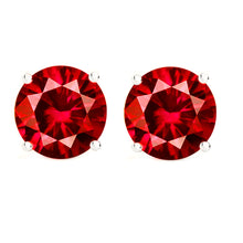 14 KARAT WHITE GOLD RUBY 4-PRONG ROUND. Choose From 0.25 CTW To 10.00 CTW