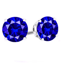 14 KARAT WHITE GOLD SAPPHIRE 4-PRONG ROUND. Choose From 0.25 CTW To 10.00 CTW