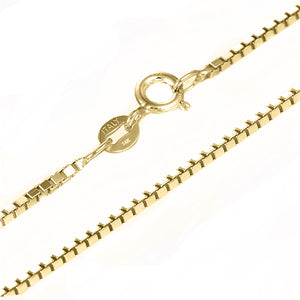 18 KARAT YELLOW GOLD ROUND BEZEL PENDANT WITH BOX CHAIN. BUILD YOUR OWN PENDANT.