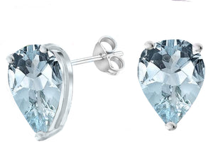 14 KARAT WHITE GOLD AQUAMARINE PEAR. Choose From 0.25 CTW To 10.00 CTW