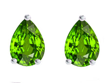 14 KARAT WHITE GOLD PERIDOT PEAR. Choose From 0.25 CTW To 10.00 CTW