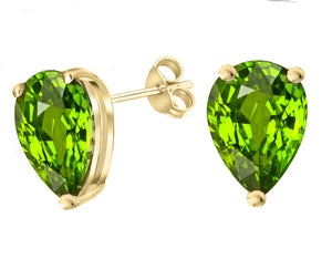 14 KARAT YELLOW GOLD PERIDOT PEAR. Choose From 0.25 CTW To 10.00 CTW