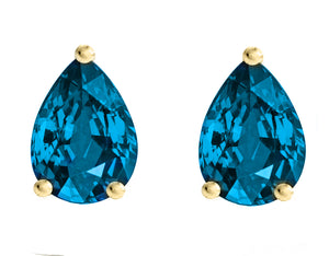 14 KARAT YELLOW GOLD BLUE TOPAZ PEAR. Choose From 0.25 CTW To 10.00 CTW