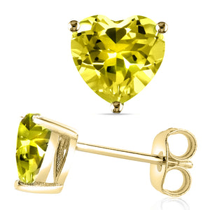 14 KARAT YELLOW GOLD CANARY HEART. Choose From 0.25 CTW To 10.00 CTW