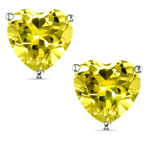 14 KARAT WHITE GOLD CANARY HEART. Choose From 0.25 CTW To 10.00 CTW