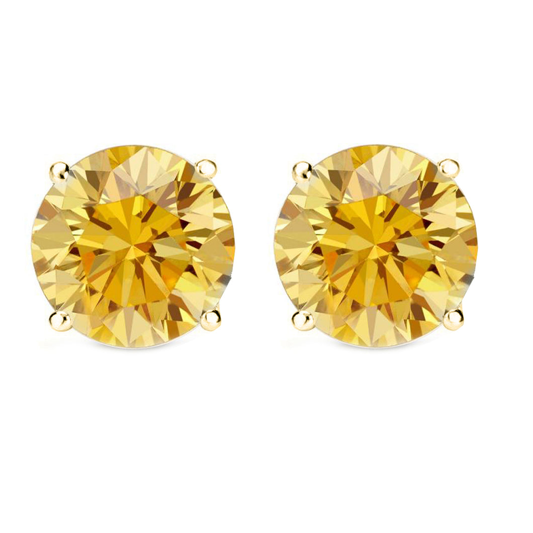 14 KARAT YELLOW GOLD CANARY 4-PRONG ROUND. Choose From 0.25 CTW To 10.00 CTW