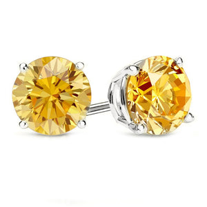 14 KARAT WHITE GOLD CANARY 4-PRONG ROUND. Choose From 0.25 CTW To 10.00 CTW