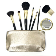 Limited Edition Luxe Cosmetic Brush Collection Featuring a Jeweled Mirror Compact