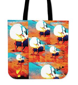 RED COLLAGE SEAGULL TRAVEL TOTE