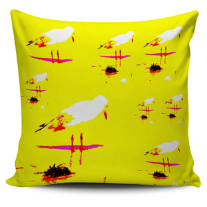 YELLOW & WHITE SEAGULL CUSHION COVER