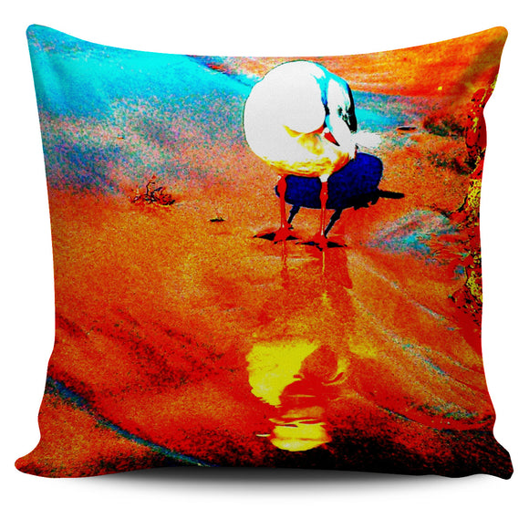 RED COLLAGE SEAGULL CUSHION COVER