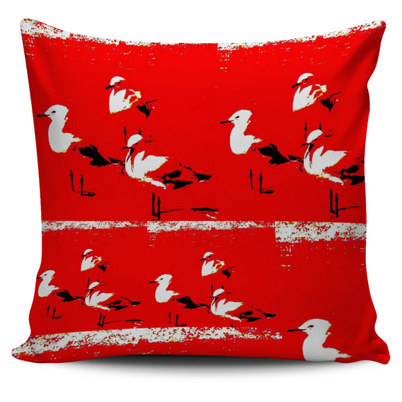 RED & WHITE SEAGULL CUSHION COVER