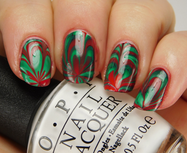 NAIL ART DESIGN: Red and Green Marble