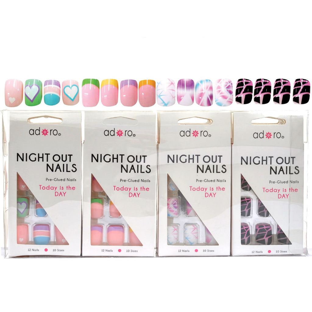 Adoro Night Out Nails Pre-Glued stick on Nail 4 designs