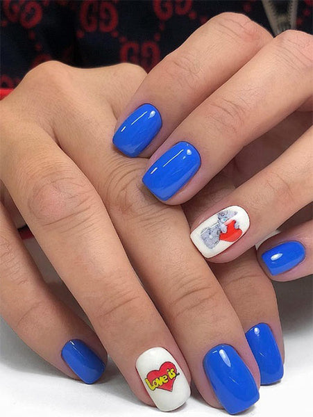 Blue Valentine's Day Nail Art