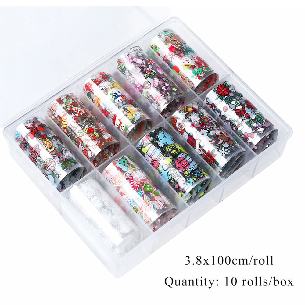 10 Rolls Christmas Nail Art Foil Tranfer Sticker part 2