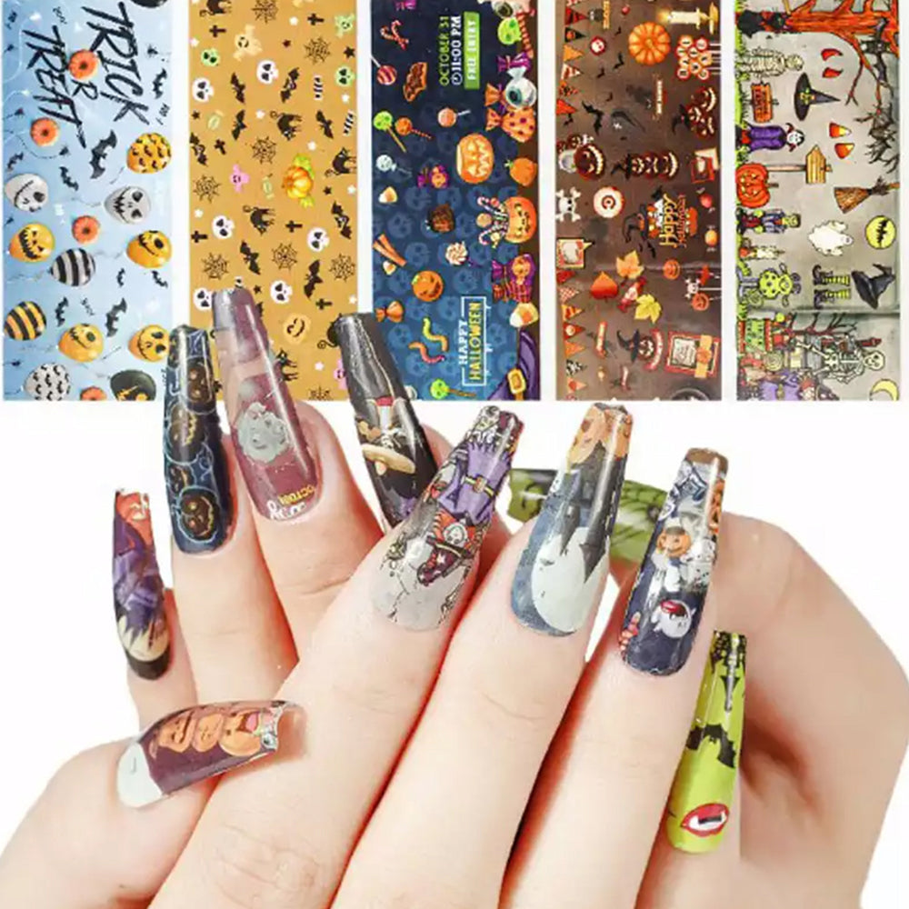 10 Rolls Halloween Nail Art Foil Tranfer Sticker part 1